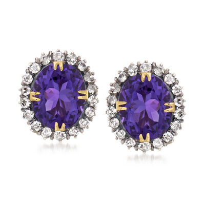 C. 1930 Vintage 9.70 ct. t.w. Amethyst and 1.50 ct. t.w. Diamond Earrings in Sterling Silver and 10kt Yellow Gold