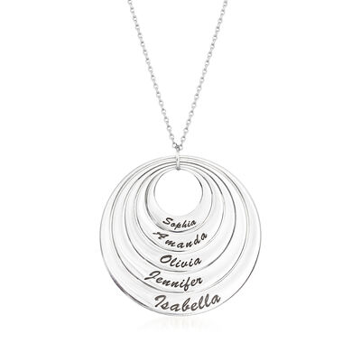 Sterling Silver Five-Name Multi-Disc Pendant Necklace, , default