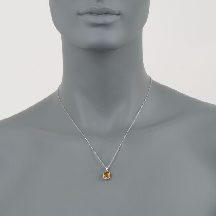 1.65 Carat Citrine Pendant Necklace with Diamonds in 14kt White Gold. 18""