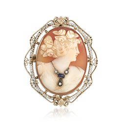 C. 1950 Vintage 34x25mm Shell Cameo Pin Pendant With Diamonds and Synthetic Sapphire in 14kt White Gold, , default