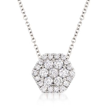 ".49 ct. t.w. Diamond Honeycomb Pendant Necklace in 14kt White Gold. 18"", , default"