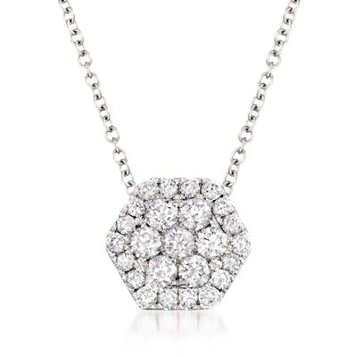 .49 ct. t.w. Diamond Honeycomb Pendant Necklace in 14kt White Gold, , default
