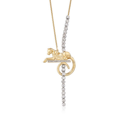 1.05 ct. t.w. Diamond Puma Lariat Necklace in 14kt Two-Tone Gold, , default
