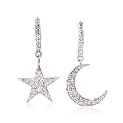 .29 ct. t.w. White Topaz Star and Moon Mismatched Drop Earrings in Sterling Silver, , default
