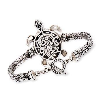 """Sterling Silver Filigree Turtle Toggle Bracelet. 7.5"""""""