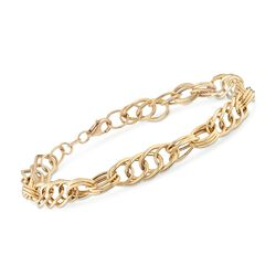 Italian 18kt Yellow Gold Multi-Oval Link Bracelet, , default