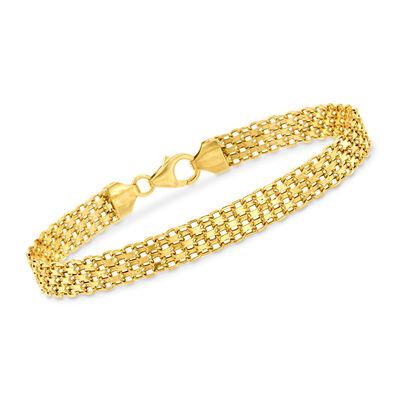 Italian 18kt Yellow Gold Bismark-Link Bracelet