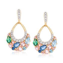 2.70 ct. t.w. Swarovski Genuine Multicolored Topaz Drop Earrings in 18kt Gold Over Sterling, , default