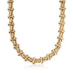 "14kt Yellow Gold Textured and Polished Mixed Link Necklace. 18"", , default"