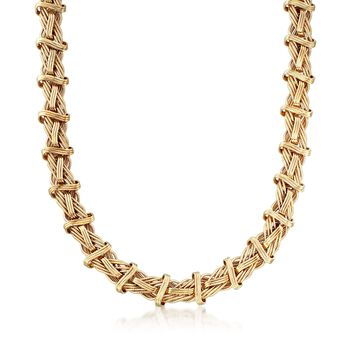"""14kt Yellow Gold Textured and Polished Mixed Link Necklace. 18"""", , default"""