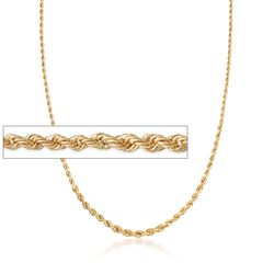 "Italian 14kt Yellow Gold Graduated Rope Chain Necklace. 20"", , default"