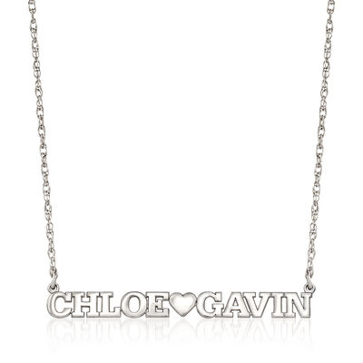 Sterling Silver Two-Name and Heart Necklace, , default