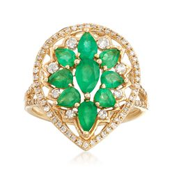 1.50 ct. t.w. Emerald and .38 ct. t.w. Diamond Ring in 14kt Yellow Gold, , default