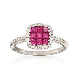 C. 2000 Vintage Gregg Ruth .75 ct. t.w. Ruby  and .30 ct. t.w. Diamond Ring in 18kt White Gold. Size 5, , default