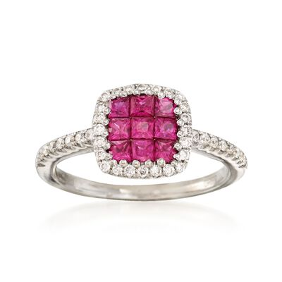 C. 2000 Vintage Gregg Ruth .75 ct. t.w. Ruby  and .30 ct. t.w. Diamond Ring in 18kt White Gold, , default
