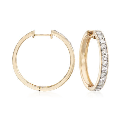 1.00 ct. t.w. Diamond Hoop Earrings in 14kt Yellow Gold, , default