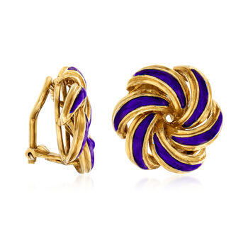 C. 1950 Vintage 18kt Yellow Gold and Blue Enamel Swirl Clip-On Earrings