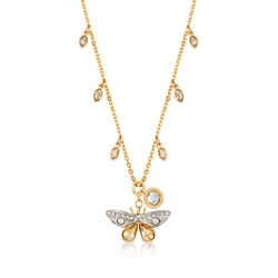 Swarovski Crystal Multi-Colored Crystal Butterfly Charm Necklace in Gold-Plated Metal, , default