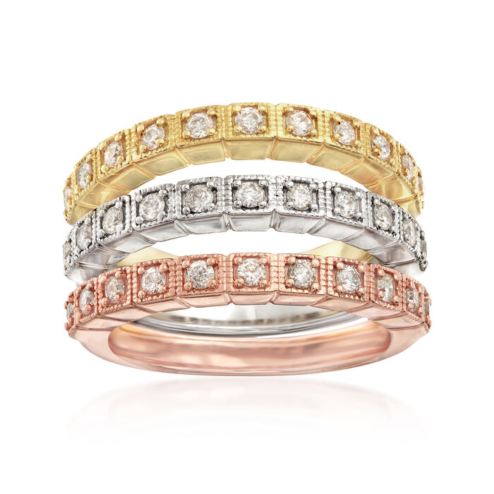 .75 ct. t.w. Diamond Jewelry Set: Three Polished Rings in Tri-Colored Sterling Silver, , default
