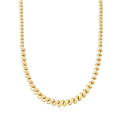 Italian 14kt Yellow Gold Graduated San Marco Necklace, , default