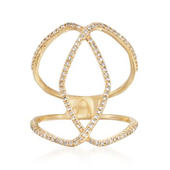 .29 ct. t.w. Diamond Open Loop Ring in 14kt Yellow Gold. Size 7, , default