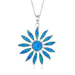 "Blue Synthetic Opal Daisy Flower Pendant Necklace in Sterling Silver. 18"", , default"