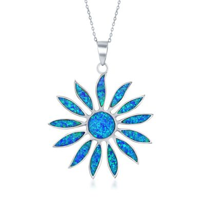 Blue Synthetic Opal Daisy Flower Pendant Necklace in Sterling Silver, , default