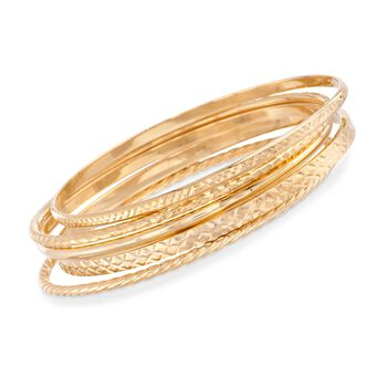 18kt Gold Over Sterling Jewelry Set: Five Textured Bangle Bracelets, , default