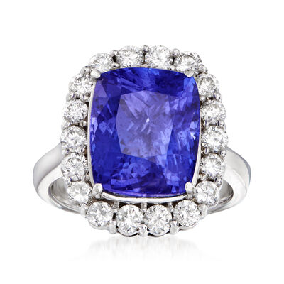 8.15 Carat Tanzanite and 1.20 ct. t.w. Diamond Halo Ring in 14kt White Gold