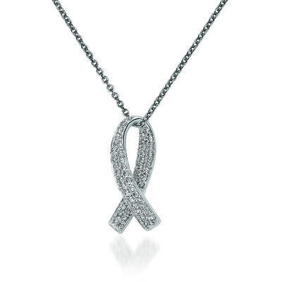 """.30 ct. t.w. Diamond Breast Cancer Awareness Pendant Necklace in 14kt White Gold. 18"""", , default"""