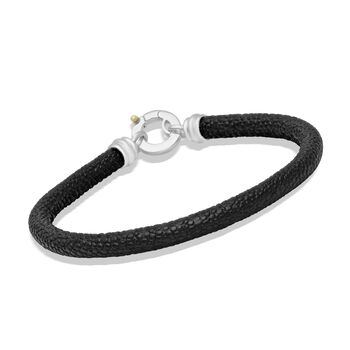 """Men's Sterling Silver and Black Leather Bracelet With Yellow Accent. 8.5"""", , default"""
