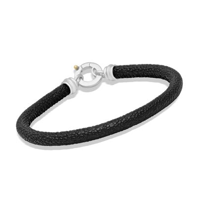 Men's Sterling Silver and Black Leather Bracelet with Yellow Accent, , default