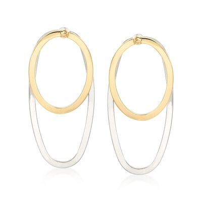 Italian 14kt Two-Tone Gold Jewelry Set: Earrings and Front-Back Jackets, , default