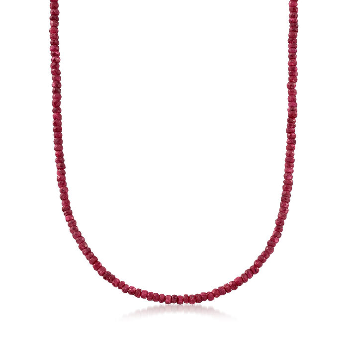 50.00 ct. t.w. Ruby Bead Necklace in 14kt Yellow Gold, , default