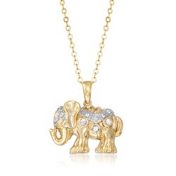 .30 ct. t.w. White Sapphire Elephant Pendant Necklace in 18kt Gold Over Sterling, , default