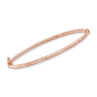 14kt Rose Gold Textured-Look Bangle Bracelet, , default