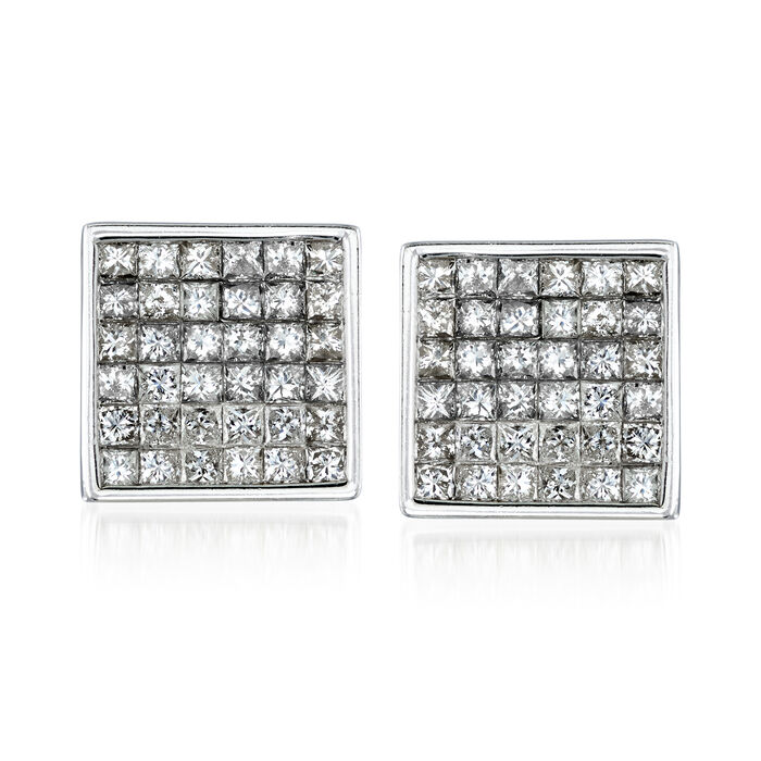C. 1990 Vintage 3.60 ct. t.w. Diamond Square Earrings in 14kt White Gold, , default
