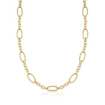 Italian Andiamo 14kt Yellow Gold Twisted Oval and Circle-Link Necklace, , default