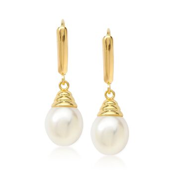 9-9.5mm Cultured Pearl Drop Earrings in 14kt Yellow Gold, , default