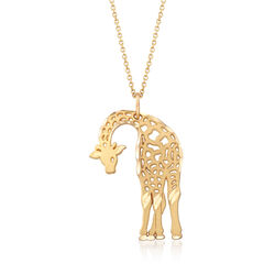 "14kt Yellow Gold Giraffe Charm Necklace. 18"", , default"