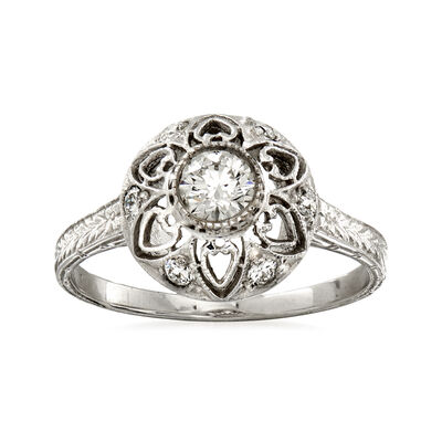 C. 2000 Vintage .43 ct. t.w. Diamond Flower Ring in 14kt White Gold