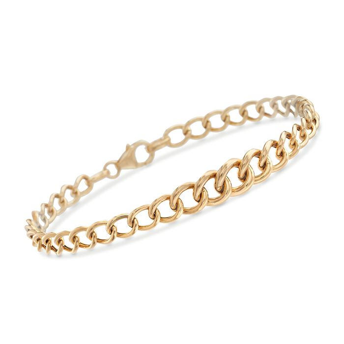 "Italian 18kt Yellow Gold Graduated Curb-Link Bracelet. 7"", , default"