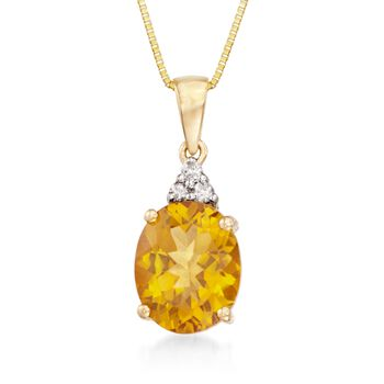 "2.20 Carat Citrine Pendant Necklace With Diamonds in  14kt Yellow Gold. 18"", , default"