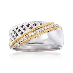 "Andrea Candela ""Rioja"" .10 ct. t.w. Diamond Ring in 18kt Yellow Gold and Sterling Silver, , default"