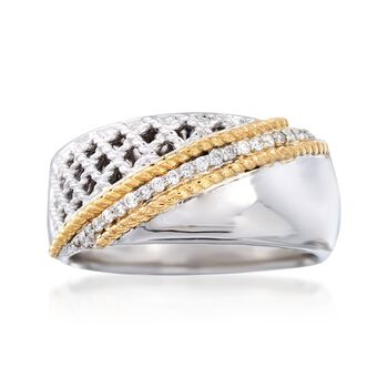 """Andrea Candela """"Rioja"""" .10 ct. t.w. Diamond Ring in 18kt Yellow Gold and Sterling Silver. Size 7, , default"""