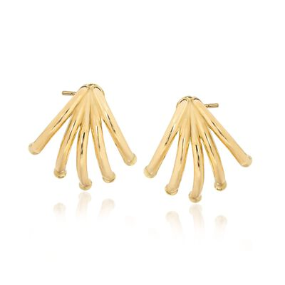 14kt Yellow Gold Curved Multi-Bar Earrings, , default