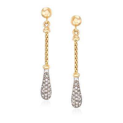 """Phillip Gavriel """"Popcorn"""" .26 ct. t.w. Diamond Drop Earrings in 14kt Two-Tone Gold, , default"""