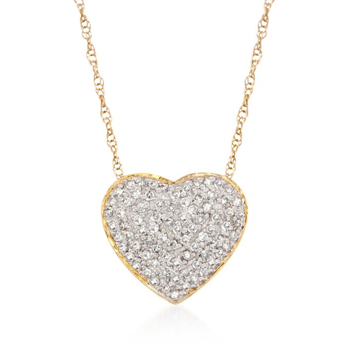 ".25 ct. t.w. Diamond Heart Pendant Necklace in 14kt Yellow Gold. 16"", , default"