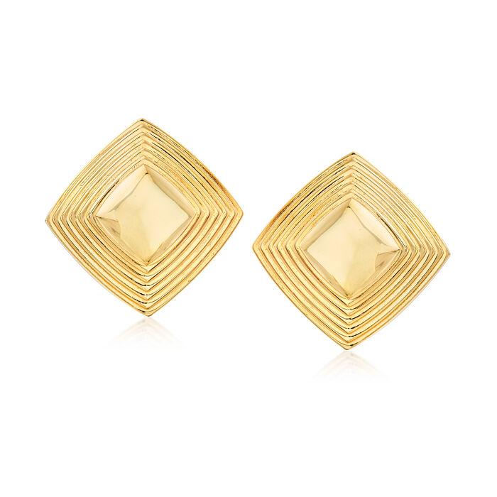 Italian 14kt Yellow Gold Pyramid Earrings