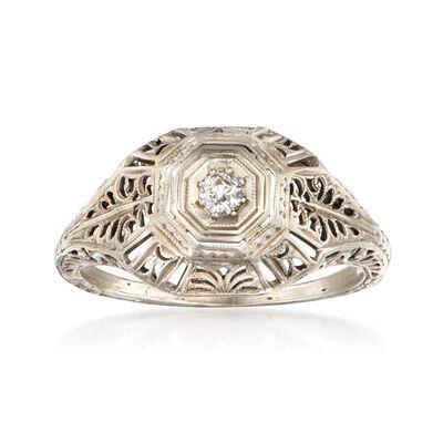 C. 1950 Vintage Diamond-Accented Filigree 18kt White Gold Ring
